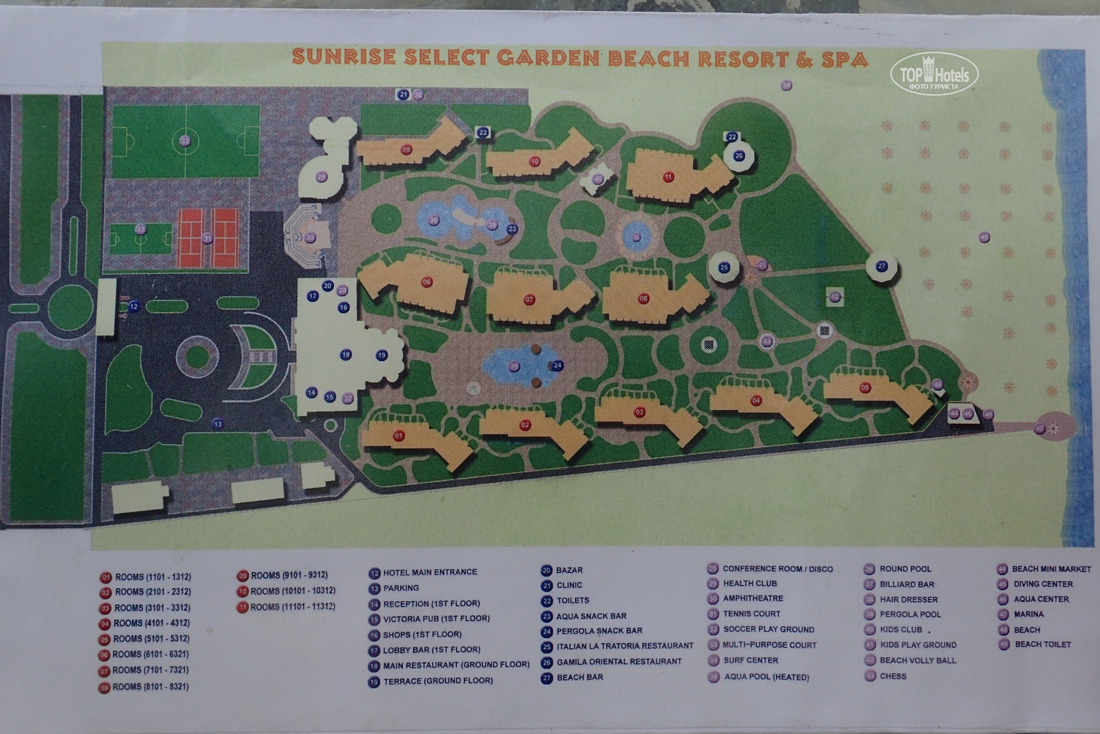 All photos: Hotel map отеля Sunrise Select Garden Beach Resort & Spa ...